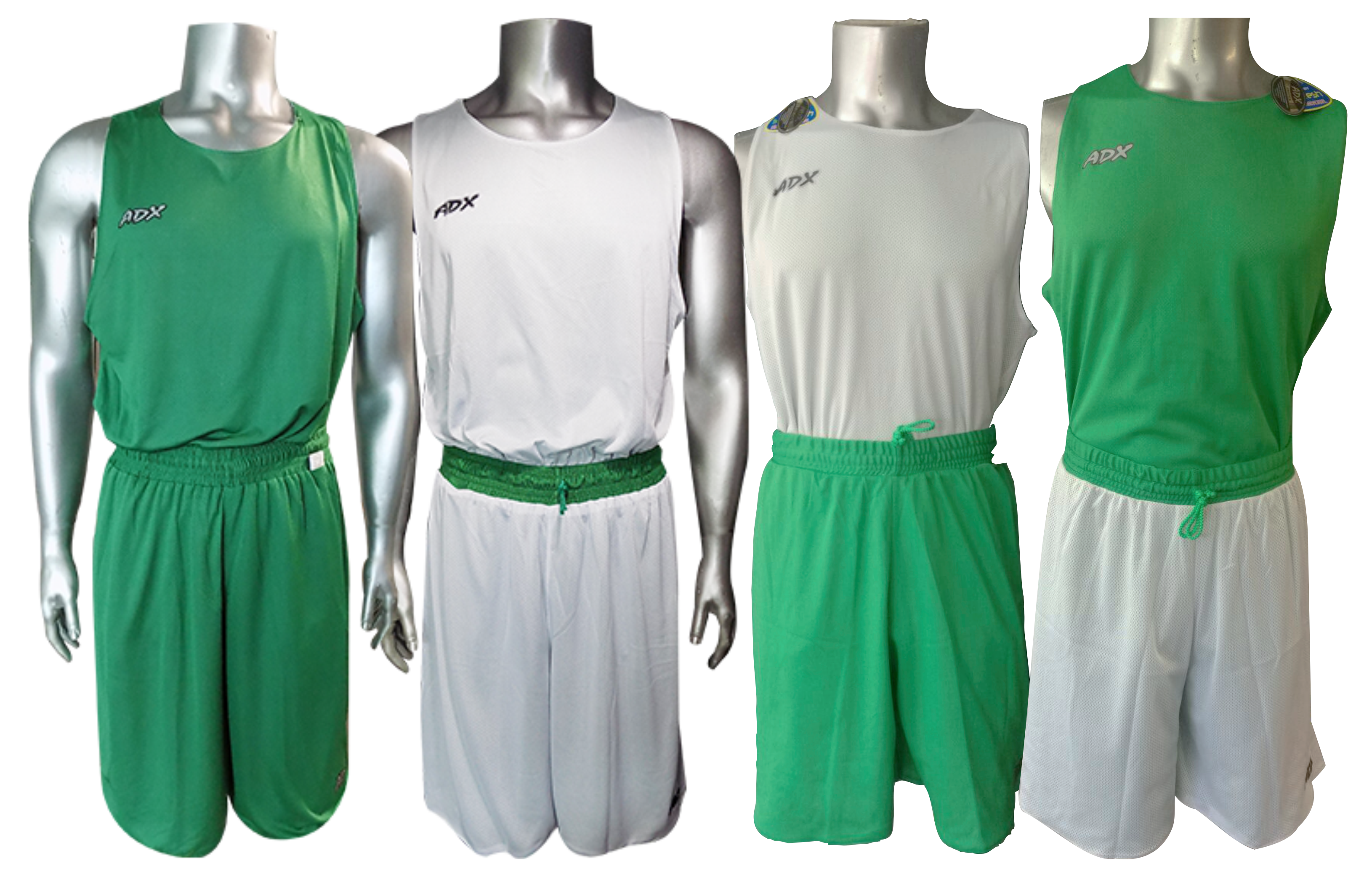 Uniforme Basquet Azul Turquesa Con Blanco Doble Vista: Uniforme ADX Doble Vista Verde/Blanco